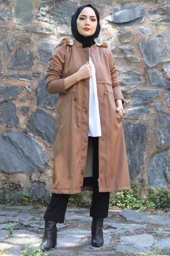 Tesettür Dünyası - Tie Waist Plus Size Coat TSD1945 Light Brown