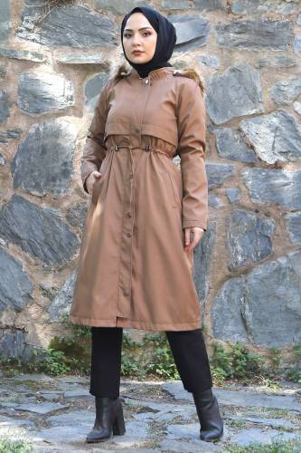 Tesettür Dünyası - Tie Waist Plus Size Coat TSD1945 Light Brown (1)