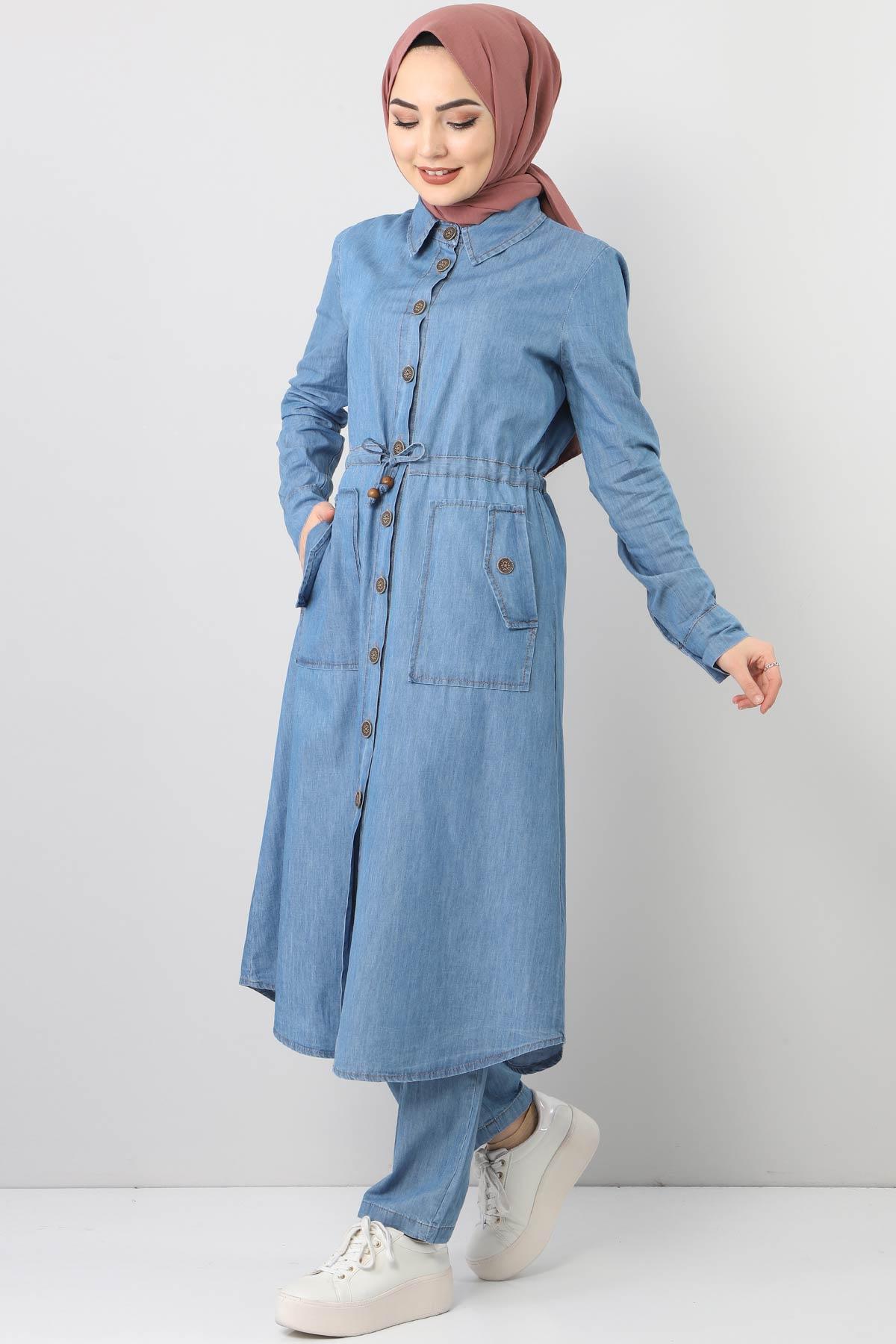 Beli Bağcıklı Düğmeli Kot İkili Takım TSD0460 Açık Mavi