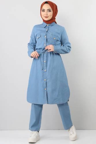 Beli Bağcıklı İkili Kot Takım TSD1625 Açık Mavi - Thumbnail