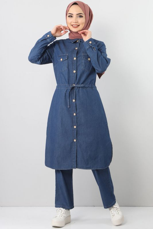 Beli Bağcıklı İkili Kot Takım TSD1625 Koyu Mavi