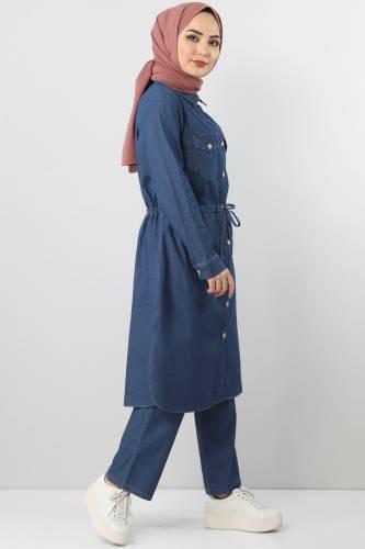 Beli Bağcıklı İkili Kot Takım TSD1625 Koyu Mavi - Thumbnail