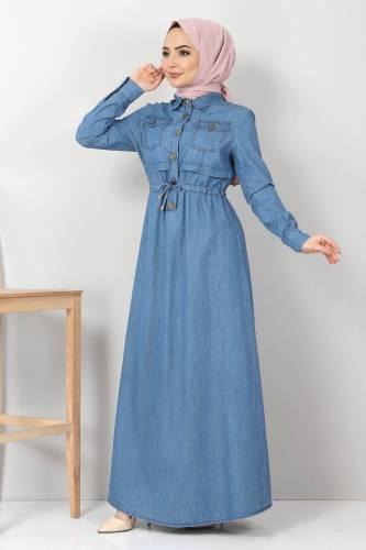 Tesettür Dünyası - Beli Bağcıklı Kot Elbise TSD10470 Açık Mavi