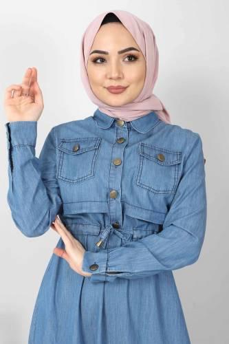 Tesettür Dünyası - Beli Bağcıklı Kot Elbise TSD10470 Açık Mavi (1)