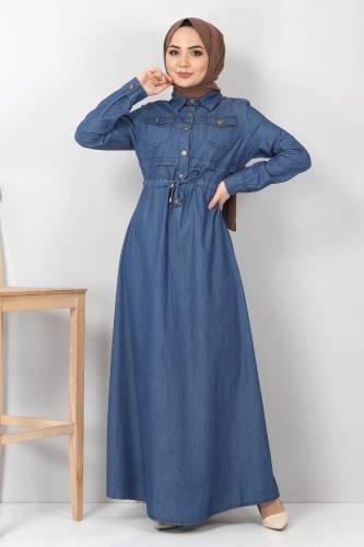 Tesettür Dünyası - Beli Bağcıklı Kot Elbise TSD10470 Koyu Mavi