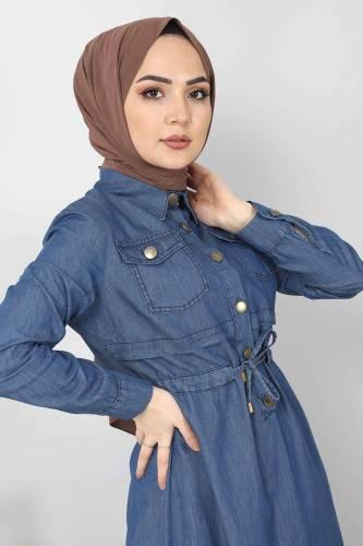 Tesettür Dünyası - Beli Bağcıklı Kot Elbise TSD10470 Koyu Mavi (1)