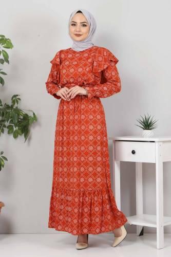 Beli Bağcıklı Tesettür Elbise TSD4404 Kiremit - Thumbnail