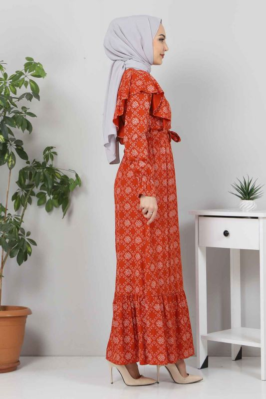 Beli Bağcıklı Tesettür Elbise TSD4404 Kiremit