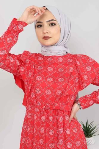 Beli Bağcıklı Tesettür Elbise TSD4404 Kırmızı - Thumbnail