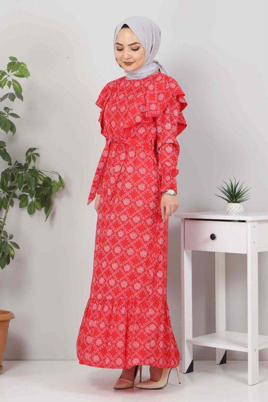 Beli Bağcıklı Tesettür Elbise TSD4404 Kırmızı