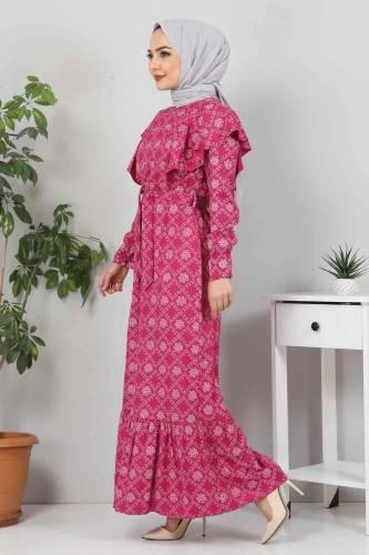 Tesettür Dünyası - Beli Bağcıklı Tesettür Elbise TSD4404 Mürdüm (1)