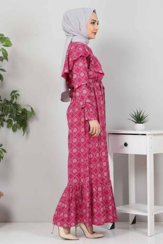 Beli Bağcıklı Tesettür Elbise TSD4404 Mürdüm - Thumbnail