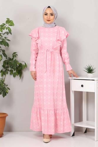 Beli Bağcıklı Tesettür Elbise TSD4404 Pembe - Thumbnail