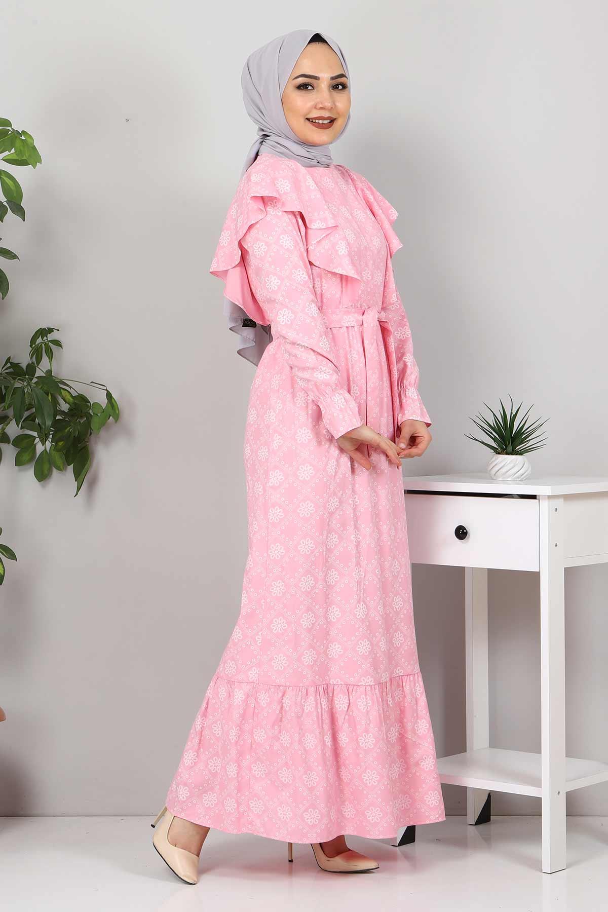Beli Bağcıklı Tesettür Elbise TSD4404 Pembe