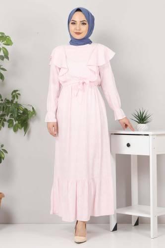 Beli Bağcıklı Tesettür Elbise TSD4404 Pudra - Thumbnail