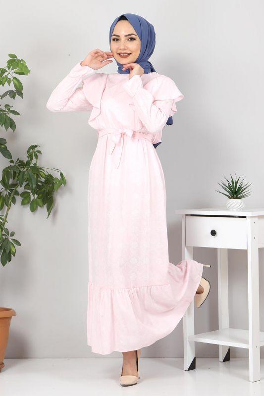 Beli Bağcıklı Tesettür Elbise TSD4404 Pudra