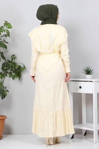 Beli Bağcıklı Tesettür Elbise TSD4404 Sarı - Thumbnail