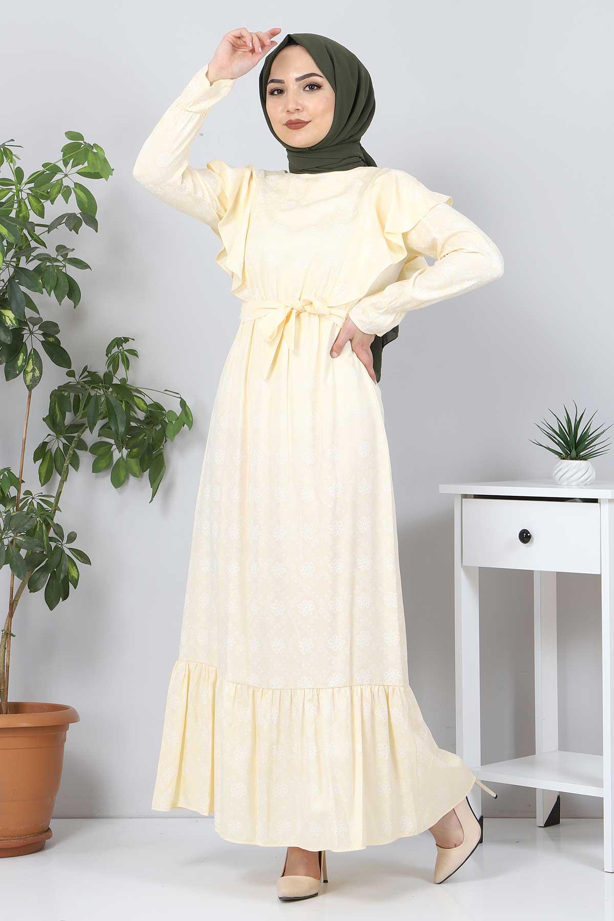 Beli Bağcıklı Tesettür Elbise TSD4404 Sarı