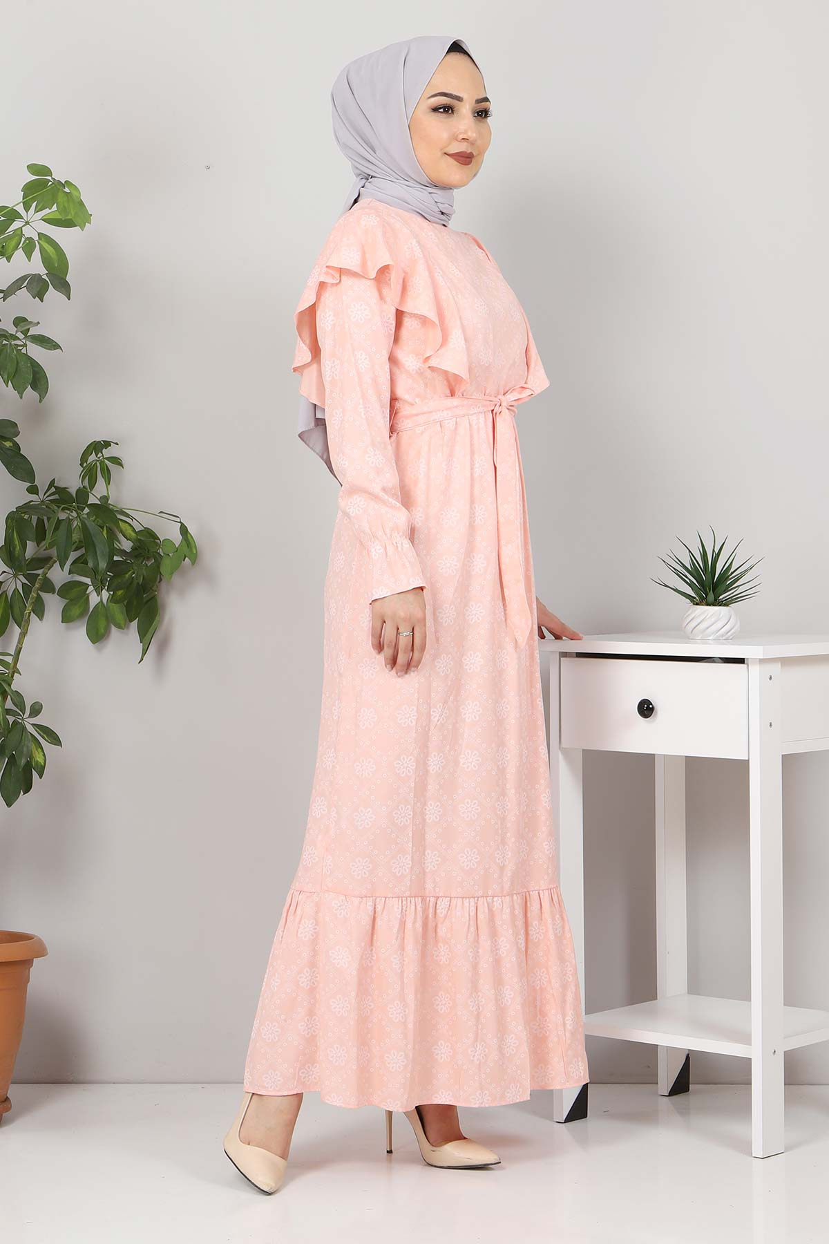 Beli Bağcıklı Tesettür Elbise TSD4404 Somon