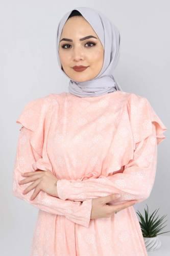 Beli Bağcıklı Tesettür Elbise TSD4404 Somon - Thumbnail