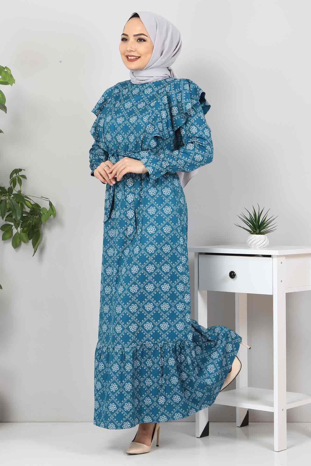 Beli Bağcıklı Tesettür Elbise TSD4404 Zümrüt