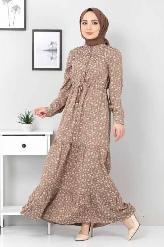 Tesettür Dünyası - Beli Bağcıklı Tesettür Elbise TSD8225 Kahverengi