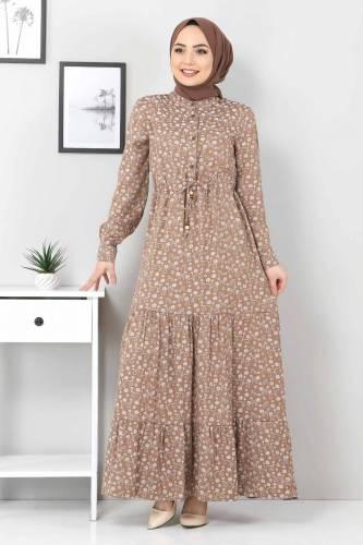Tesettür Dünyası - Beli Bağcıklı Tesettür Elbise TSD8225 Kahverengi (1)