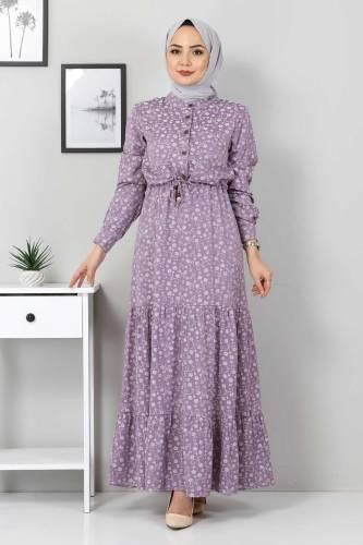 Tesettür Dünyası - Beli Bağcıklı Tesettür Elbise TSD8225 Lila