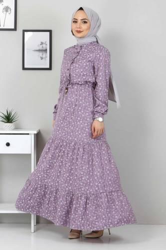 Tesettür Dünyası - Beli Bağcıklı Tesettür Elbise TSD8225 Lila (1)