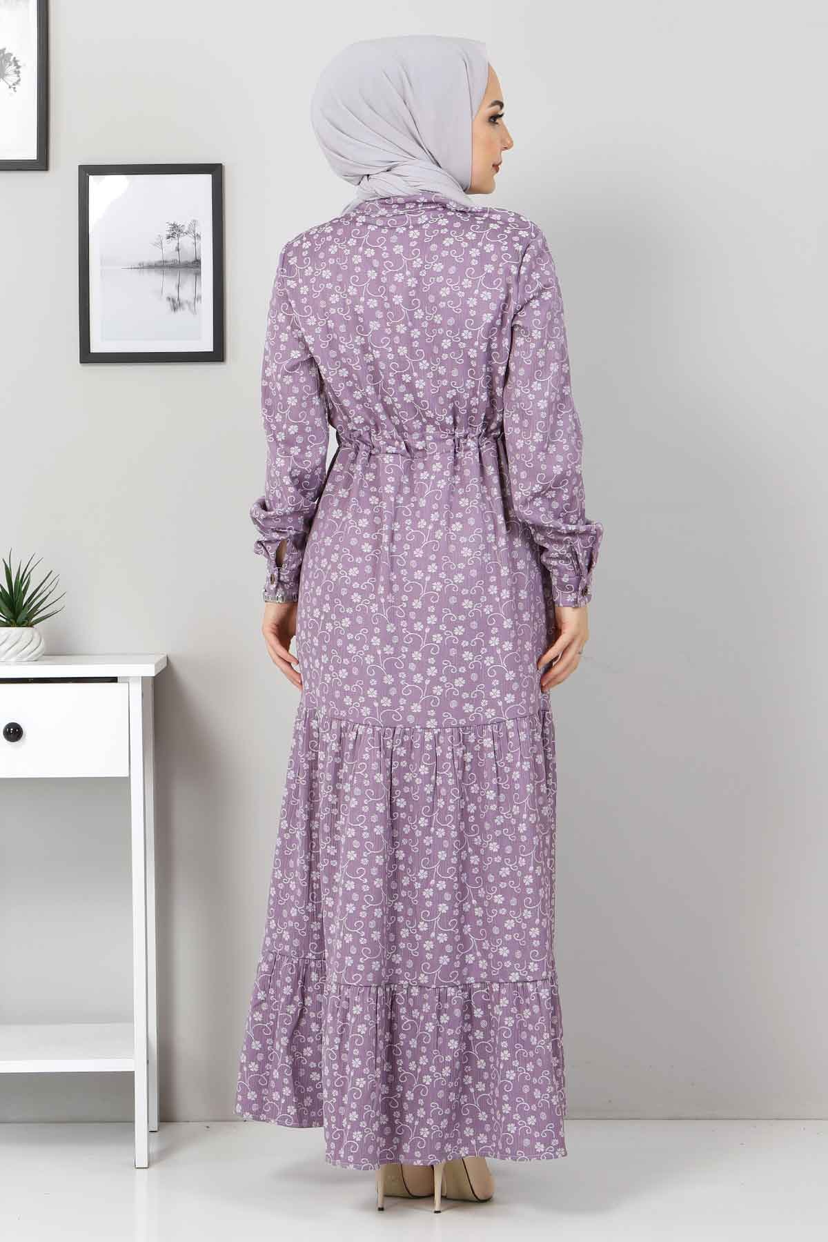 Beli Bağcıklı Tesettür Elbise TSD8225 Lila