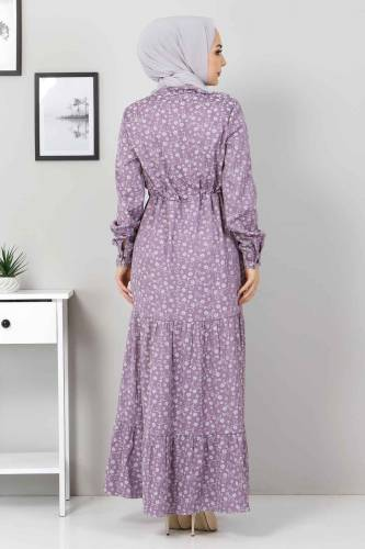 Beli Bağcıklı Tesettür Elbise TSD8225 Lila - Thumbnail