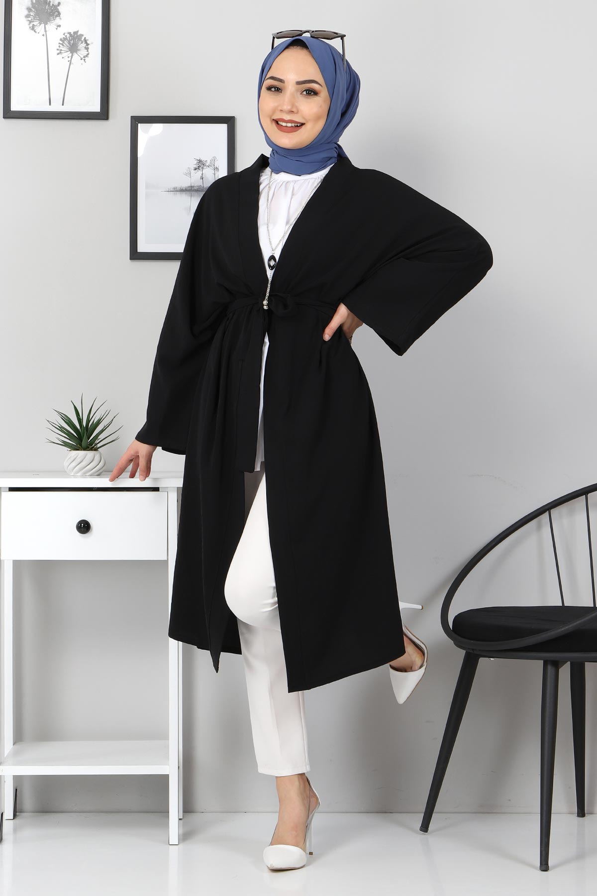 Beli Kuşaklı Kimono TSD3305 Siyah