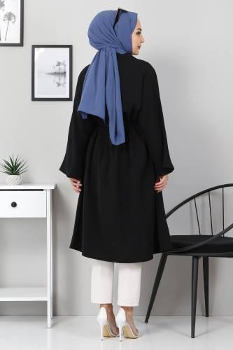 Beli Kuşaklı Kimono TSD3305 Siyah - Thumbnail