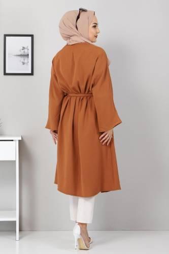 Beli Kuşaklı Kimono TSD3305 Taba - Thumbnail