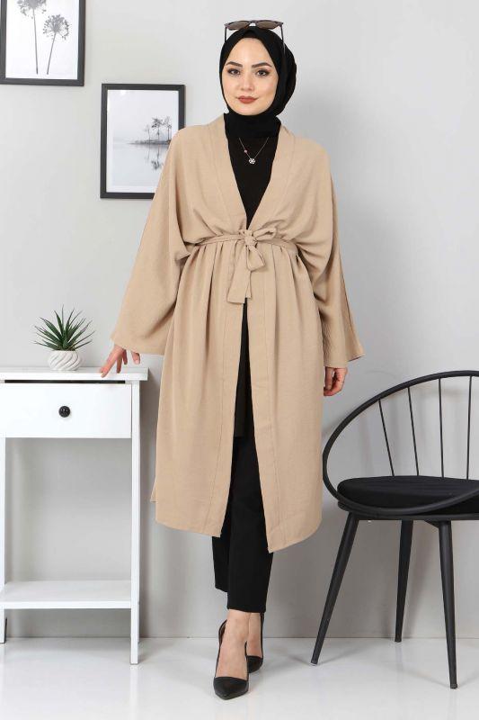 Beli Kuşaklı Kimono TSD3305 Vizon