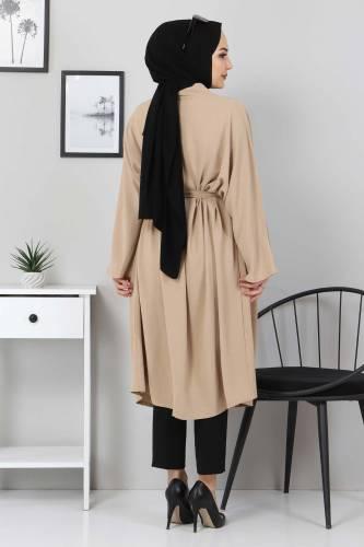 Beli Kuşaklı Kimono TSD3305 Vizon - Thumbnail