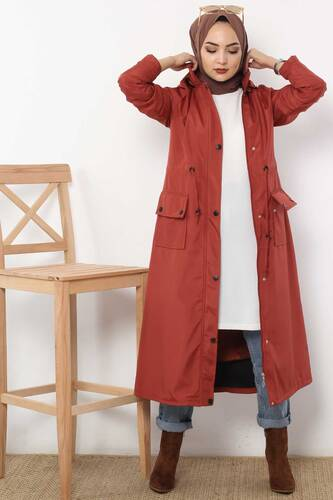 Beli Laced Trench Coat TSD2120 Brick Color. - Thumbnail