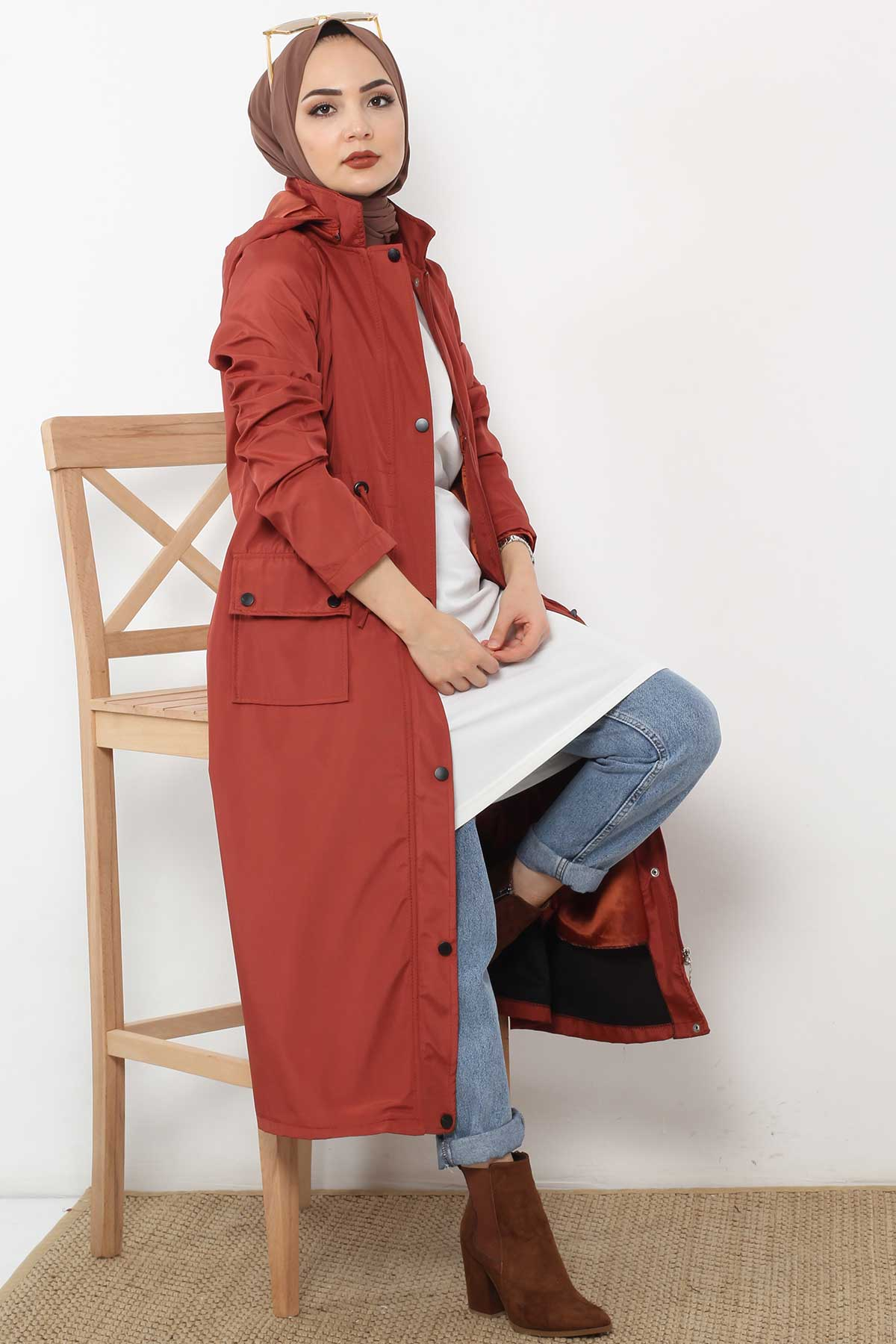 Beli Laced Trench Coat TSD2120 Brick Color.