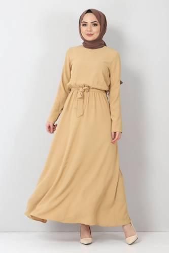 Tesettür Dünyası - Beli Lastikli Ayrobin Elbise TSD5521 Camel