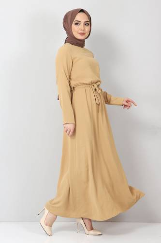 Tesettür Dünyası - Beli Lastikli Ayrobin Elbise TSD5521 Camel (1)
