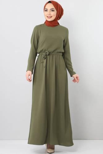 Beli Lastikli Ayrobin Elbise TSD5521 Haki - Thumbnail