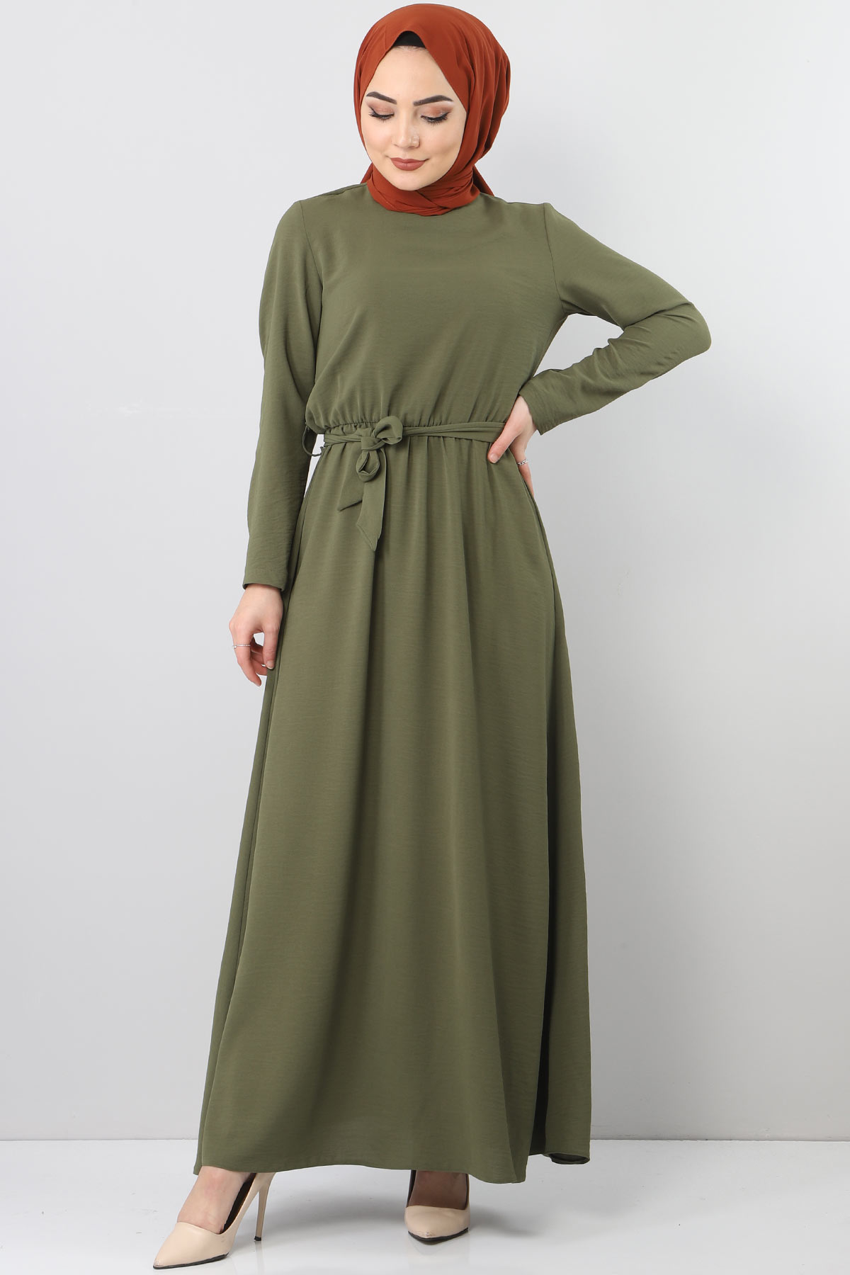 Beli Lastikli Ayrobin Elbise TSD5521 Haki