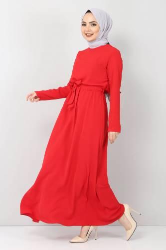 Tesettür Dünyası - Beli Lastikli Ayrobin Elbise TSD5521 Kırmızı