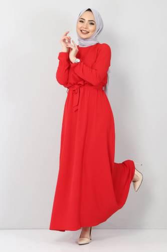 Tesettür Dünyası - Beli Lastikli Ayrobin Elbise TSD5521 Kırmızı (1)