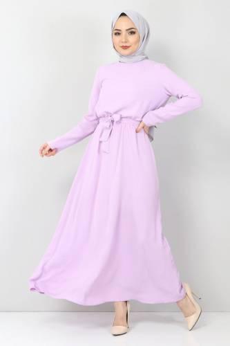 Tesettür Dünyası - Beli Lastikli Ayrobin Elbise TSD5521 Lila