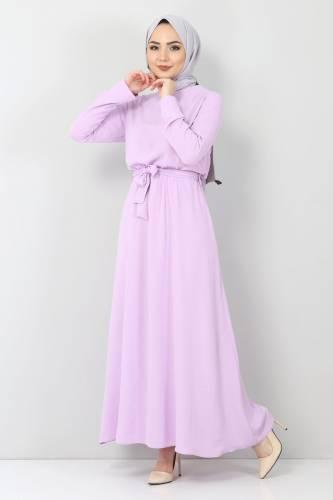 Tesettür Dünyası - Beli Lastikli Ayrobin Elbise TSD5521 Lila (1)