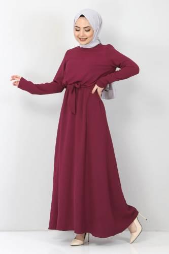 Tesettür Dünyası - Beli Lastikli Ayrobin Elbise TSD5521 Mürdüm (1)
