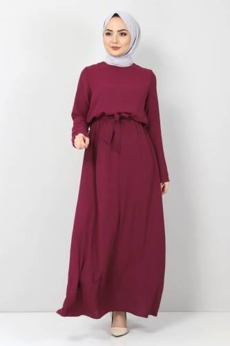 Tesettür Dünyası - Beli Lastikli Ayrobin Elbise TSD5521 Mürdüm