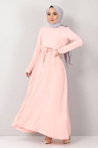 Tesettür Dünyası - Beli Lastikli Ayrobin Elbise TSD5521 Somon