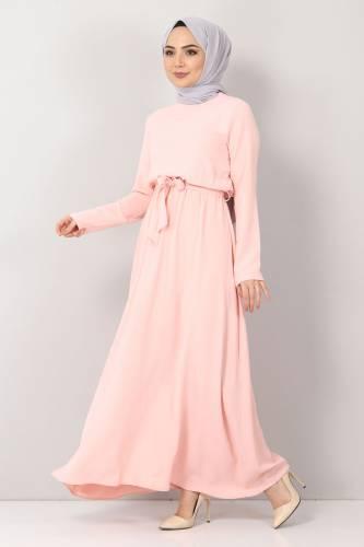 Tesettür Dünyası - Beli Lastikli Ayrobin Elbise TSD5521 Somon (1)
